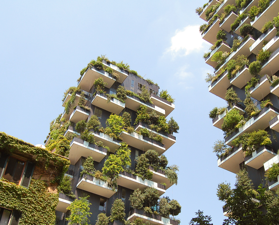 Trees and greenery in apartment balconies