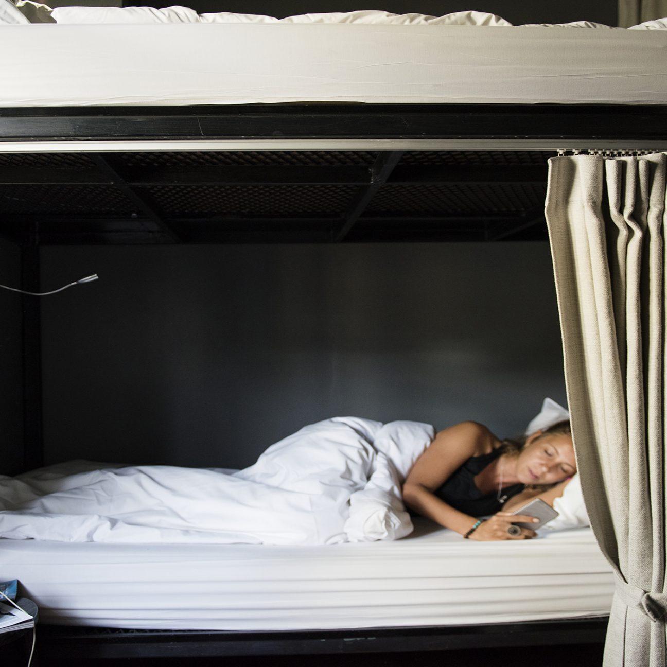 girl sleeping in hostel