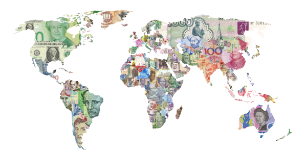 World map with different currencies