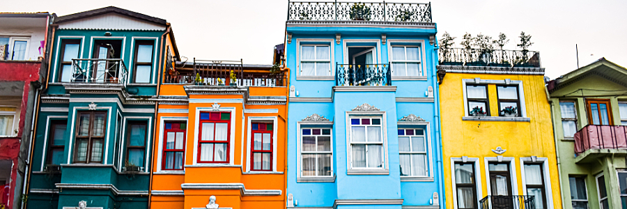 Street of Colourful Row Houses in Istanbul