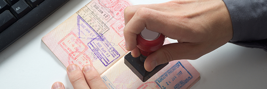 Customs Officer Stamps Passport
