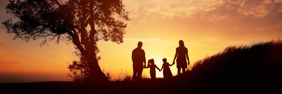 Family standing by a tree in sunsut