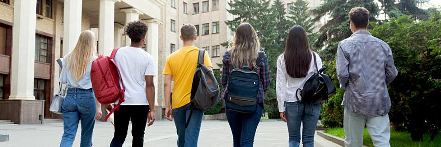 Gruppo di studenti in un campus universitario