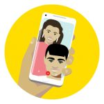 Icon of a man and women FaceTiming to represent how to stay connected to family and friends