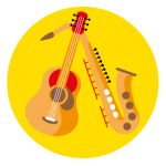 Icon of a guitar and saxophone to represent how to stay connected to family and friends