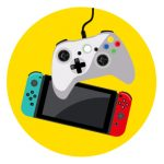 Icon of a Nintendo Switch and video game controller to represent how to stay connected to family and friends