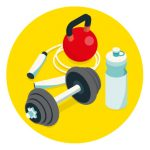Icon of gym equipment to represent how to stay connected to family and friends