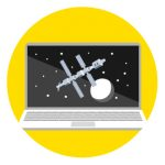 Icon of a laptop with the International Space Station on the screen to represent how to stay connected to family and friends