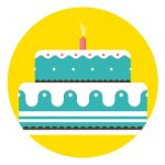Icon of a birthday cake to represent how to stay connected to family and friends