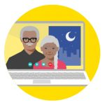 Icon of man and women video chatting to represent how to stay connected to family and friends
